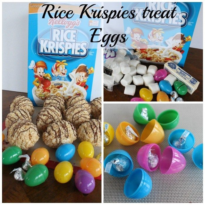 Rice Krispies Treat Eggs.  Fun for the kids because the Rice Krispies mixture covered a plastic egg with a little treat.  If you can make Rice Krispies squares, you can make these!