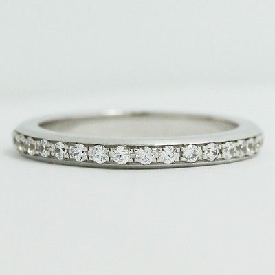 This 24 Mm Bead Set In Channel Eternity Wedding 14k White Gold Band Is
