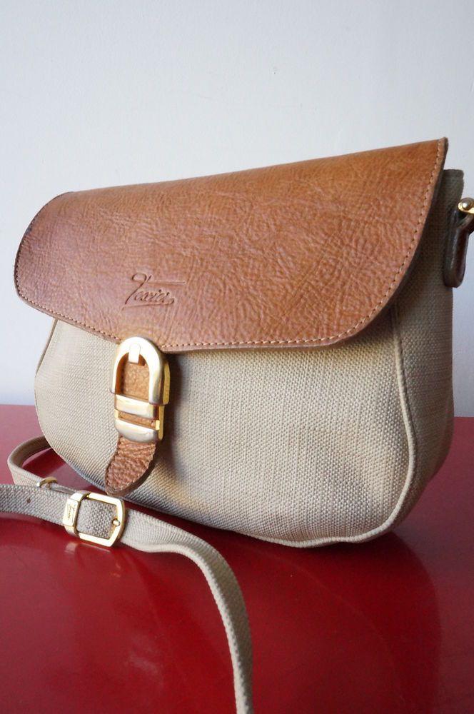 SAC BAG Besace TeXIER CUIR TOILE ENDUITE bandouliere vintage VTG 80 leather