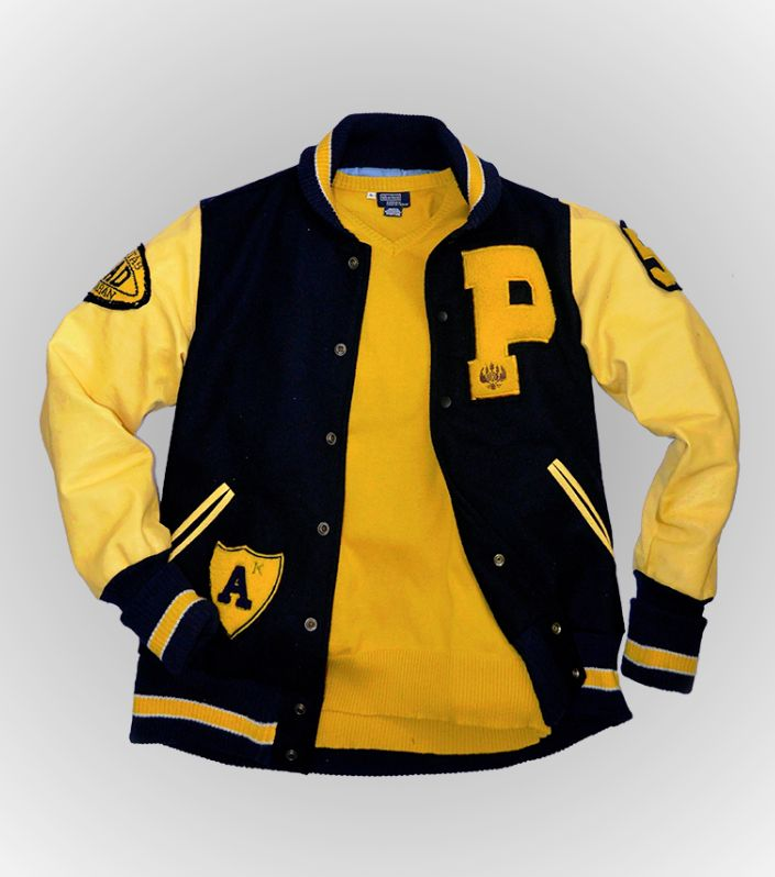 """This Letterman jacket is one of our customer's custom.  Crafted from exclusive material, combined wool and sheep leather. And features Unpad patches. .Long sleeves with long striped ribbed cuffs. .Applied """"P"""" detail with Unpad-Inside logo at the left chest. .Historical Number patch """"57"""" at right sleeve. and ball of American Football """"UNPAD"""" patch (intarsia knit applied) at left sleeve. .Dry clean."""