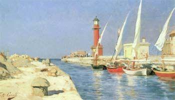 Tito Conti Canale, Viareggio 1883 olio su tavola, cm 14x24