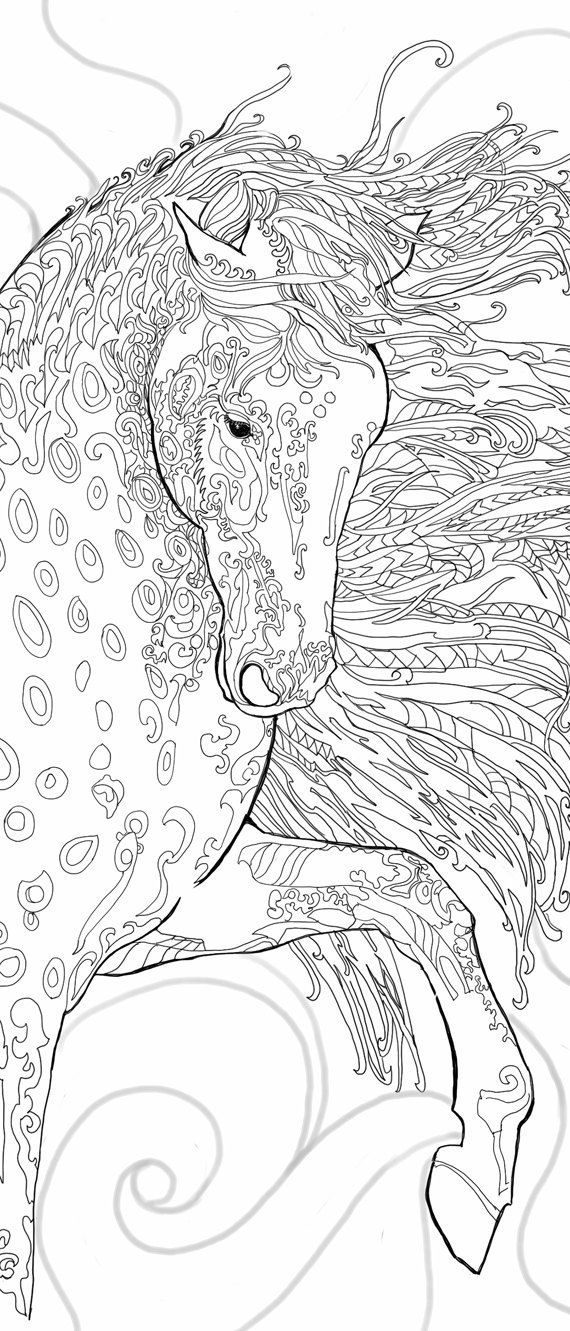 Coloring pages Printable Adult Coloring book Horse Clip Art Hand Drawn Original Zentangle Colouring Page For Download, Doodle art Picture Original