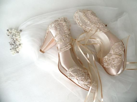 1b99ef4e7195 Custom Wedding Shoes Champagne Satin Bridal Shoes