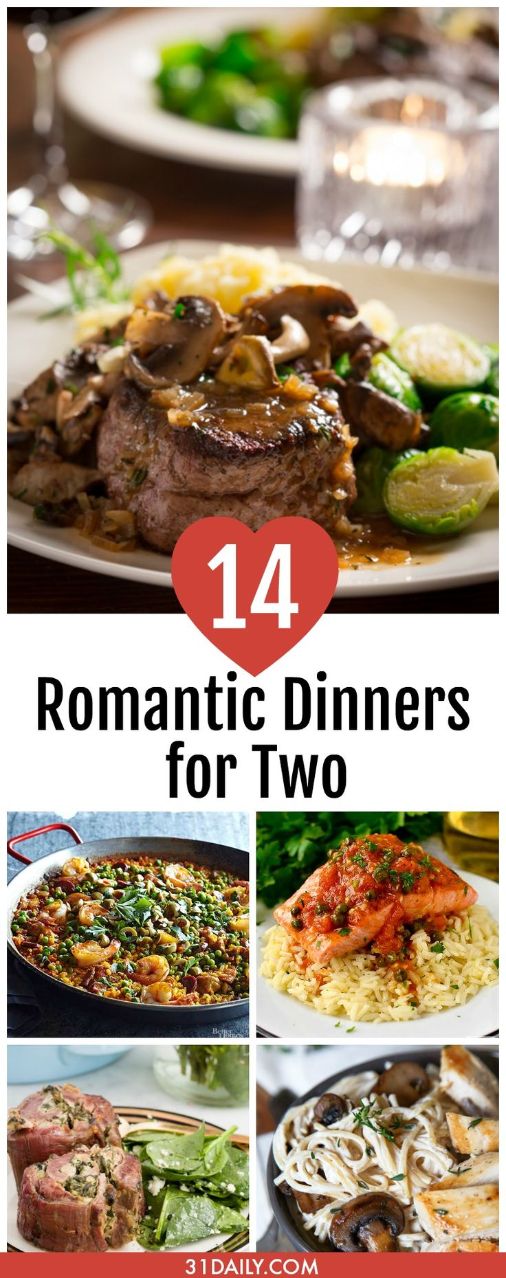 14 Romantic Dinners for Two | 31Daily.com #valentinesday #dinnersfortwo #romanticdinners