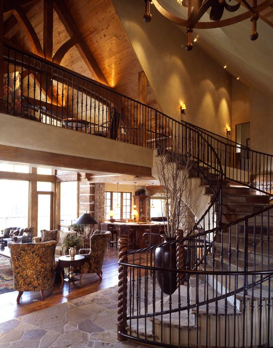 Great Rm/ Love the stone staircase: Entry Staircase Hallways, Houses Castles Buildings Hom, Twisti Staircases, Stones Staircases, Rustic Staircases, Catwalks Stairs, Catwalks Hallways, Beautiful Homes Gardens, Entry Staircases Hallways