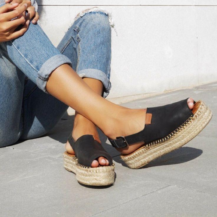 Back Strap Black Espadrilles Espadrille Jute Sandals Made In Spain Shoes
