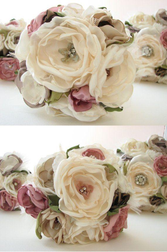 Ramo flores de tela romantic DIY Fabric flowers bouquet