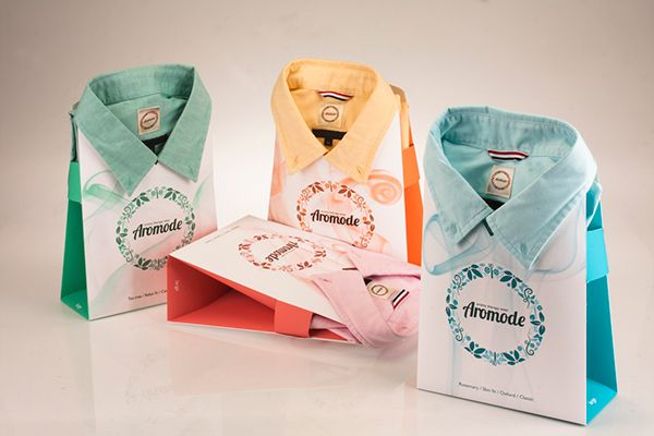 Aromode clothing packaging on Behance