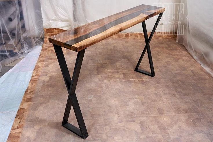 Narrow Console Table Farmhouse Foyer Table Epoxy Resin