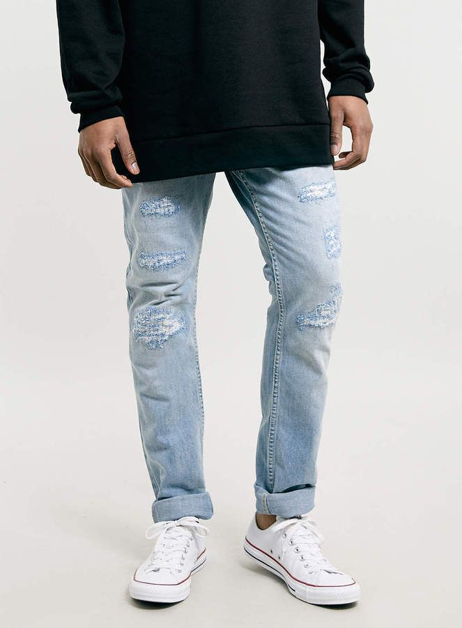 Light Blue Ripped Jeans by Topman. Buy for $80 from Topman