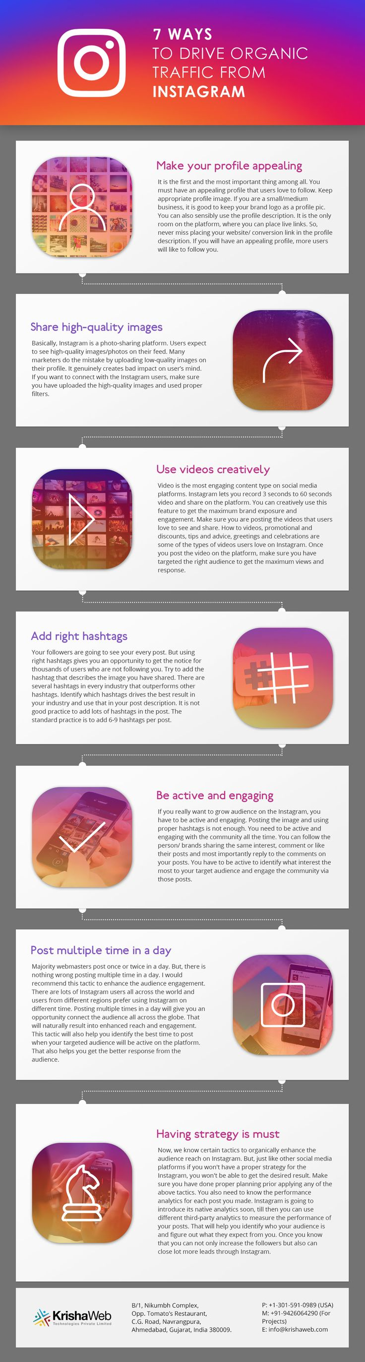 7 Ways to drive organic traffic from Instagram. Social media marketing infographic.