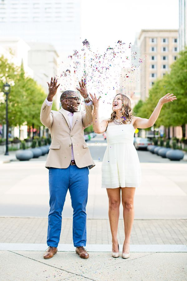 Interracial couple.  The most fun confetti engagement shoot! | Robyn Van Dyke #wedding