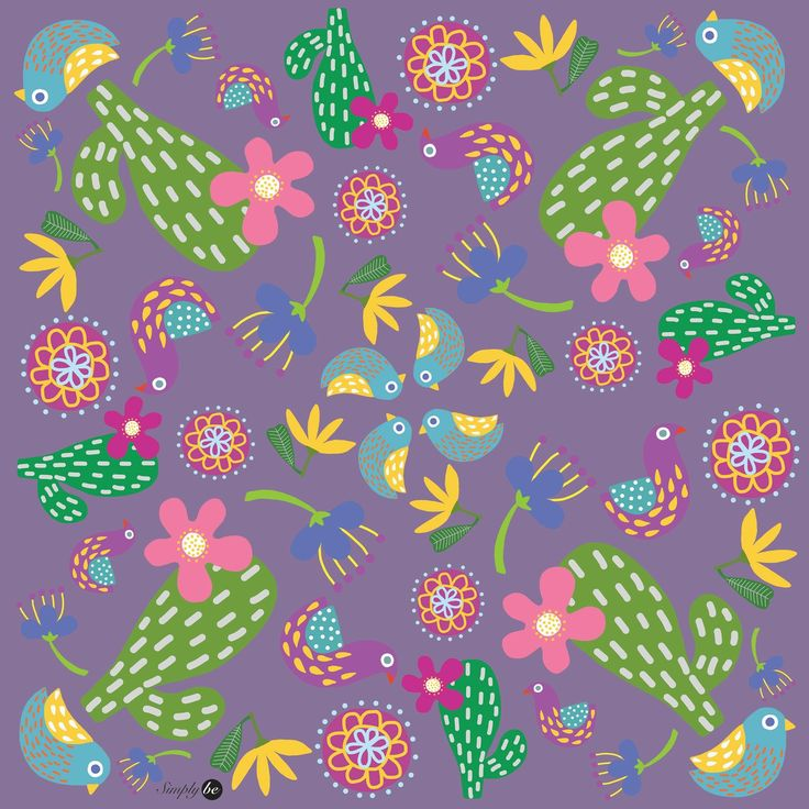Scarf by Simply be, size 100x100 cm., Silk Satin fabric, Cactus II - purple
