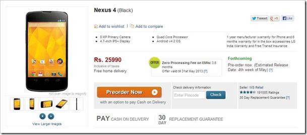 Google Nexus 4 Available for Pre-order on Flipkart for Rs 25,990 - TheTechPanda.com