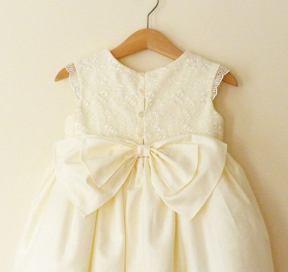 Ivory Flower Girls Dress With Lace Bodice And by VesperClothier, $130.00