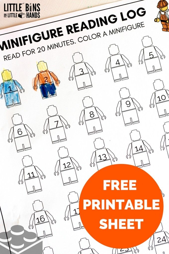 Minifigure Printable Reading Log Sheet for Kids Literacy