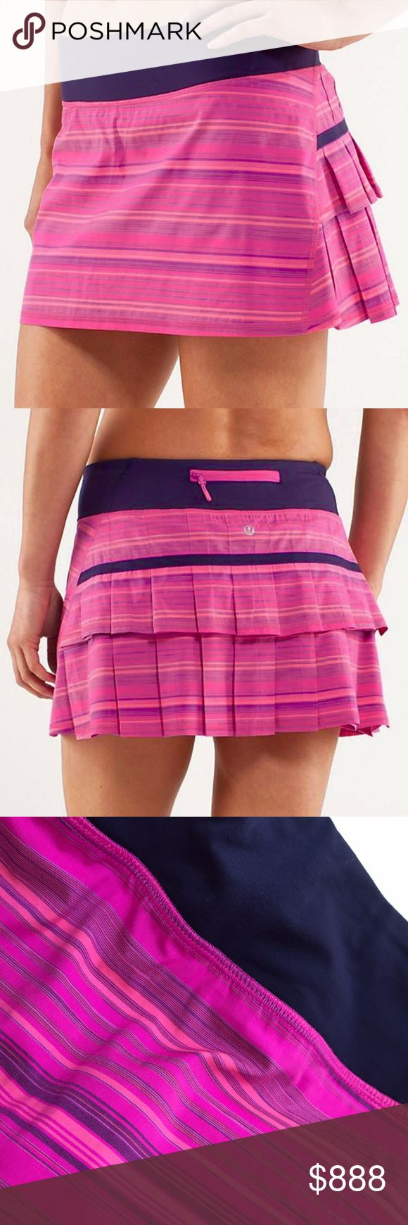 Lululemon Elevate Stripe Pace Setter Skirt 4 Lululemon Elevate Stripe Pace Setter Skirt in pink. Good pre-loved condition. No stains or fading. Grips on shorts have some wear at seams, this looks to be the only flaw, they do still grip well. Please see pics. Back zip pocket, 2 front key pockets, ball pocket. Firm on price. Size 4. Last pic is LLL stock pic, actual skirt color is like actual pics. lululemon athletica Skirts