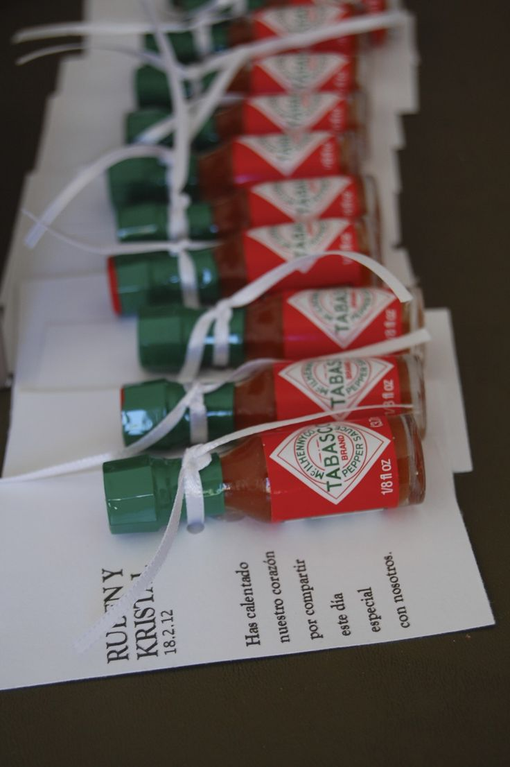 You have warmed our hearts for sharing this special day with us. Our miniature Tabasco wedding favors.