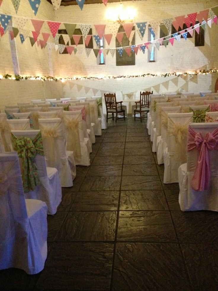White Cotton Chair Covers with Floral and Ivory Sashes at Ufton Court