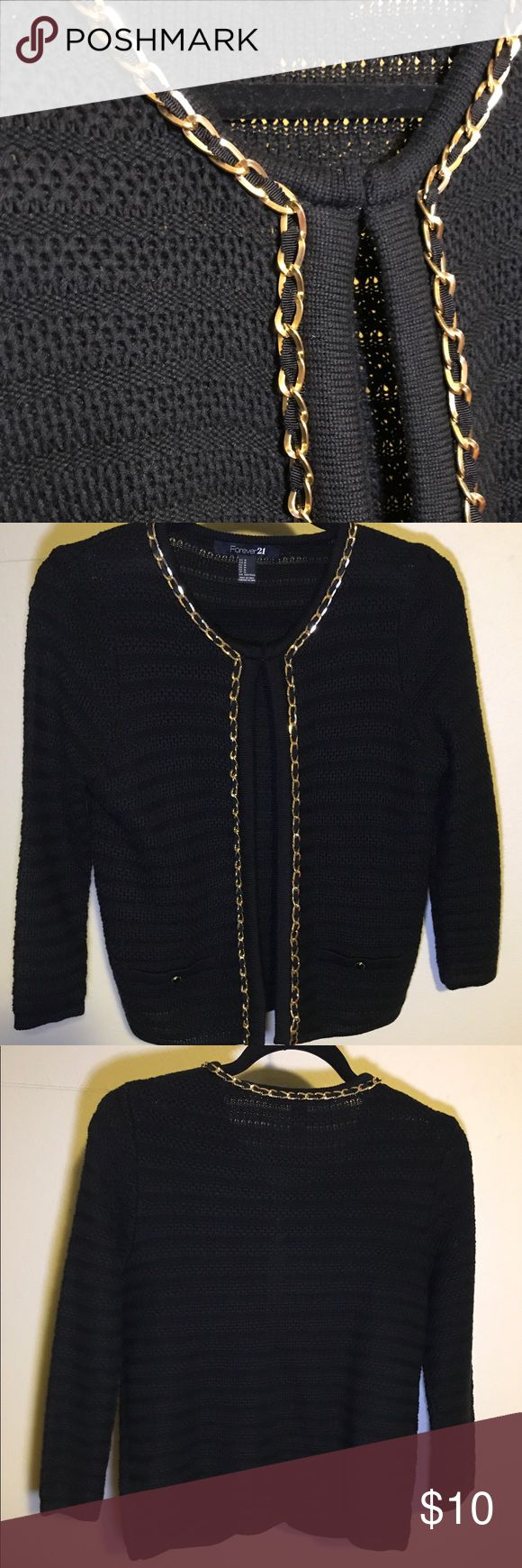 Black/Gold Cardigan - Forever 21 Excellent Quality, Great Condition! Metal chain has nice weight to it. Worn only a couple times. Bundle at least 3 items for 15% discount! Forever 21 Sweaters Cardigans
