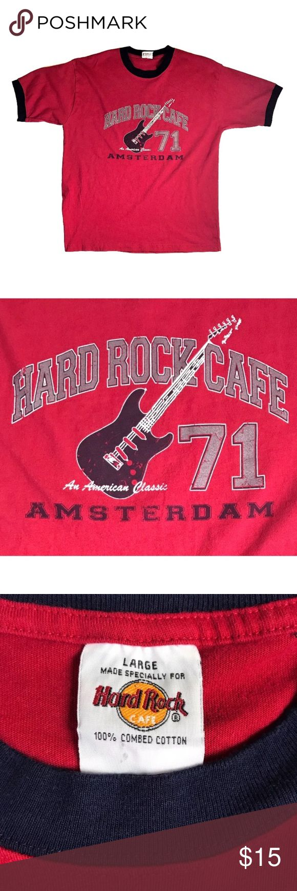 """Hard Rock Cafe T-Shirt Amsterdam Men's Size Large Collector's Hard Rock Cafe T-Shirt from Amsterdam 1971 Guitar Gently Worn Condition with no noted flaws. 100% Cotton Size Large  Measurements Chest: 44"""" (from armpit to armpit) Length: 28"""" Arm Hold: 9.5"""" Back: 20.5"""" Hard Rock Cafe Shirts Tees - Short Sleeve"""