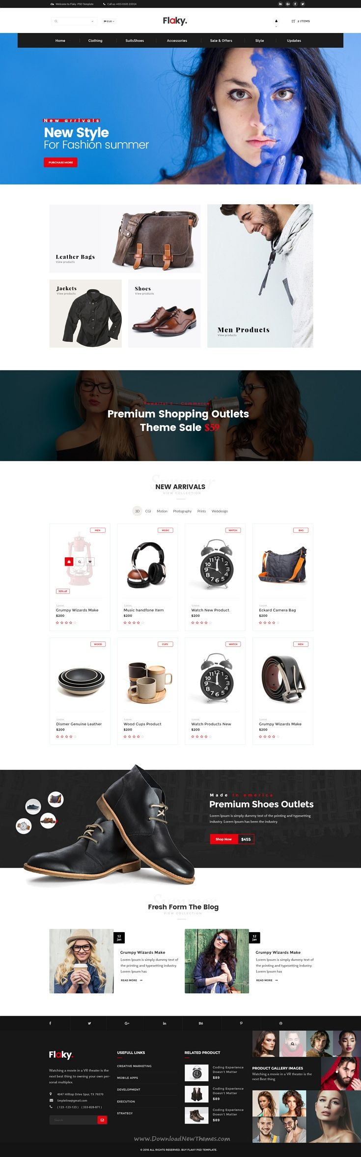 Flaky is a completely layered and fully managed #PSD template for a simple, creative, minimalist #online #shop #website. Download Now!