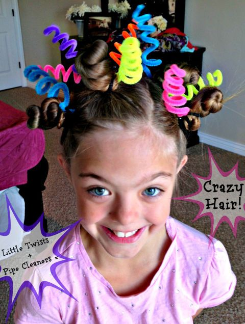 Crazy hair day ideas!  Pretty cool!  The bendy shape and bright colors of pipe cleaners make them the perfect hair accessory for a wacky style.Get the tutorial at Blue Skies Ahead.