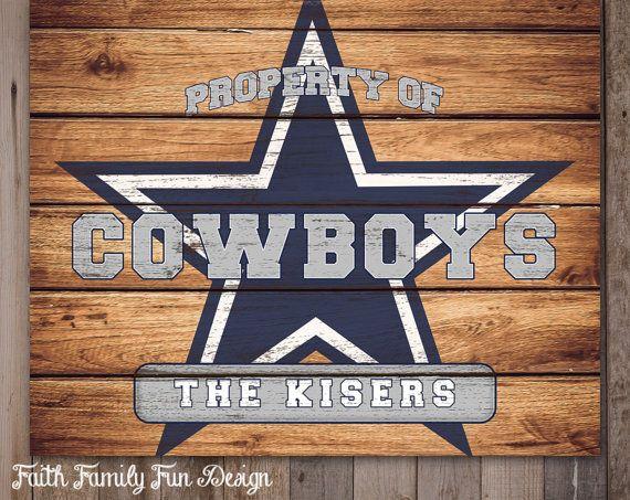Dallas Cowboys Man Cave Decor : Nfl dallas cowboys team sign printable personalized man