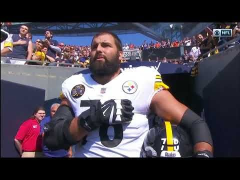 Alejandro Villanueva, Pittsburgh Steeler and U.S. Army Ranger stands alone for the national anthem - YouTube