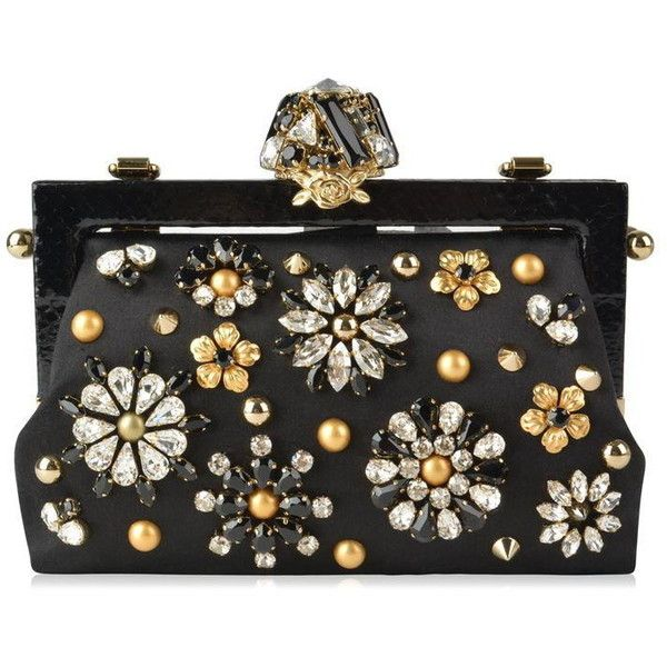 Dolce And Gabbana Vanda Jewel Appliqued Satin Clutch ($3,555) ❤ liked on Polyvore featuring bags, handbags, clutches, dolce and gabbana, hand bags, dolce gabbana handbags, jeweled handbags, man bag and jewel purse