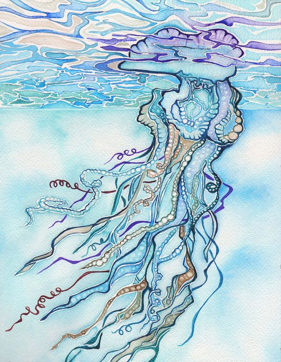 Man o War Jellyfish art 8.5 x 11 print turquoise blue purple, ocean marine surf dive beach life portuguese man of war man-of-war bluebottle