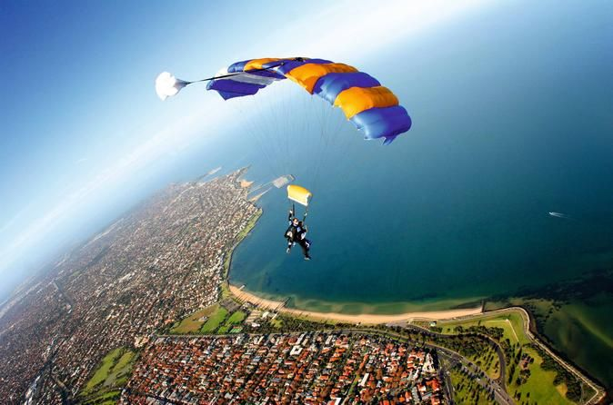 Melbourne Tandem Skydive on the Beach Melbourne's only beach skydive — skydiving Melbourne doesn't get any more thrilling. Experience the ultimate adrenaline rush tandem skydiving over St Kilda, the closest skydiving center to Melbourne CBD. Exit the plane from up to 14,000 feet for 60 seconds of life-changing free-fall. Float under canopy for 5-7 minutes and enjoy the 360-degree views of Melbourne, curling around the stunning Port Phillip Bay taking in the sparkling blue ocea...