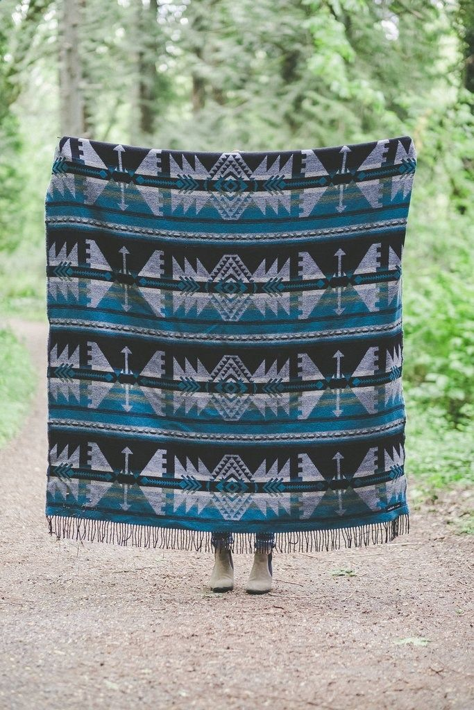 Camping Blanket - ARROW Blue Sackcloth and Ashes. For every blanket you purchase, one will be donated to your local homeless shelter. Made in USA.