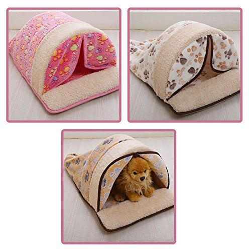 cool CreaTion Cute Warm Soft Fleece Pet Kennel Bed With Curtain Sleeping Bag Design With Paw Print For Small Cats And Dogs