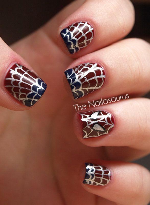 Spider-Man ManiNails Art Tutorials, Spiderman Nails, Nails Art Ideas, Spiders Man Nails, Nails Design, Summer Nails Art, Nails Polish, Fingers Nails, Spiders Web