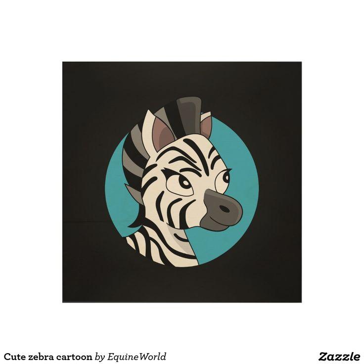 Cute zebra cartoon wood wall art