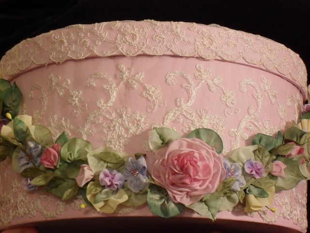 Hatbox with ribbon work, BEAUTIFUL