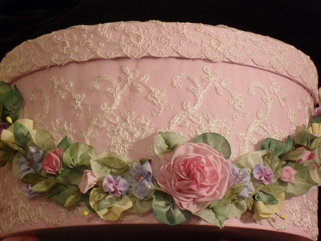Hatbox with ribbon work, BEAUTIFUL