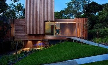 Bold Architecture with Silvertop Ash Timber Cladding by Vibe Design Group contemporary-exterior