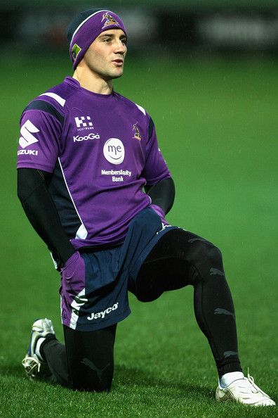 Cooper Cronk Cooper Cronk stretches during a Melbourne Storm NRL training session at AAMI Park on September 1, 2010 in Melbourne, Australia.