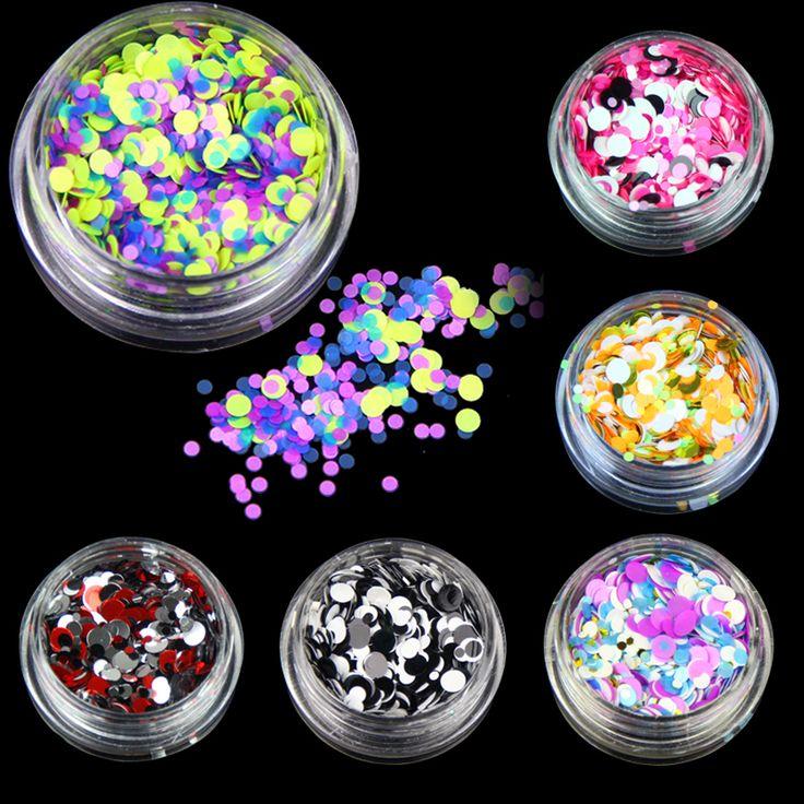 6 Bottles/set Plastic Nail Art Glitter Powder Color Mixed Nail Glitter Sequins Women Beauty Salon Manicure Tools WY598