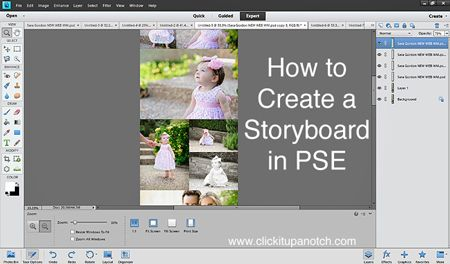 Creating a Storyboard in Photoshop Elements by Sara Gordon via Click it Up a Notch