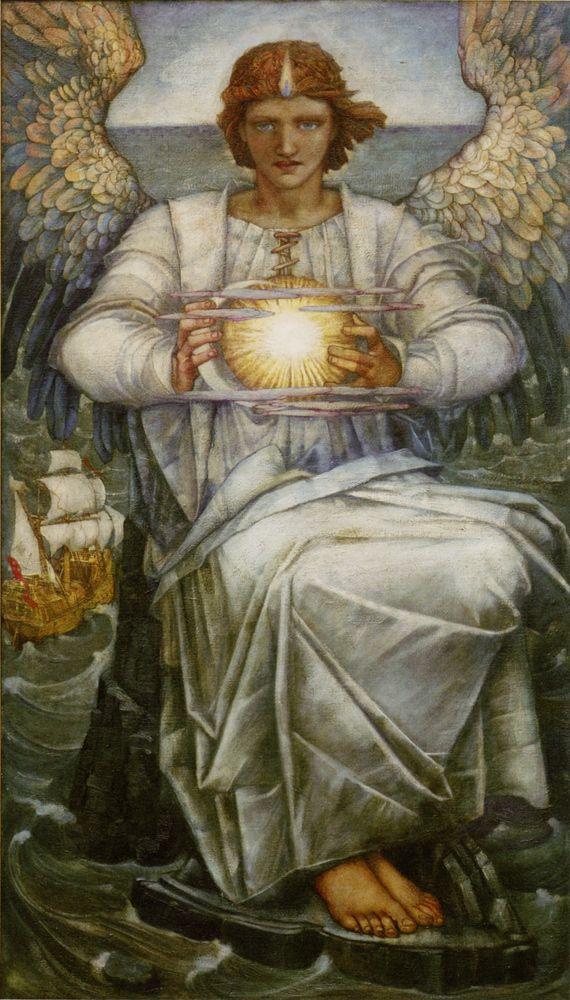 "Edward Reginald Frampton (1872-1923) The Angel of the Sea Oil on canvas -1906 68.6 x 121.9 cm (27.01"" x 3' 11.99"")"