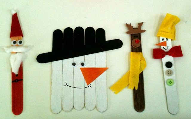 Popsicle figures for Winter - Christmas. We made a lot of them in class and each student took one home!