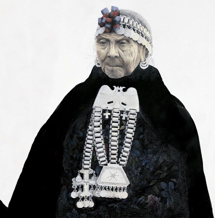 Mapuche woman, today. || Illustration by José Pérez de Arce.