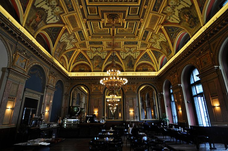 A Gold Art Deco Ceiling in a Cafe in Budapest, Hungary