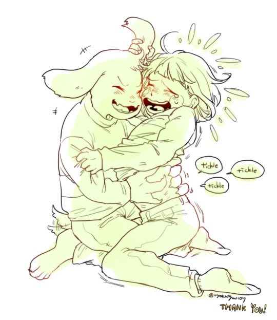 Tickle Sans: Asriel And Chara Tickle Fight