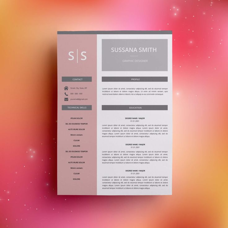 Professional Resume Template CV Template Word