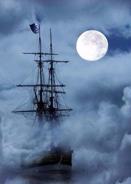 корабль, туман, пираты