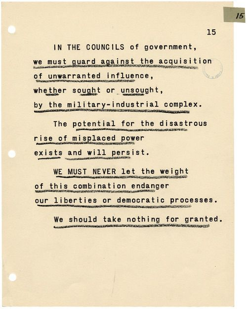 President Dwight Eisenhower's farewell address, delivered on January 17, 1961.